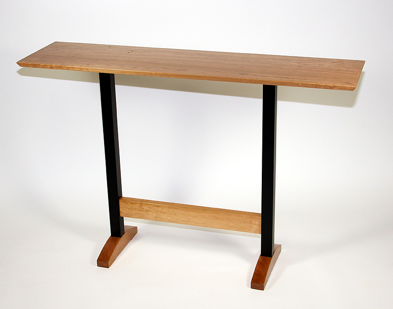 Console table - cherry wood, black metal