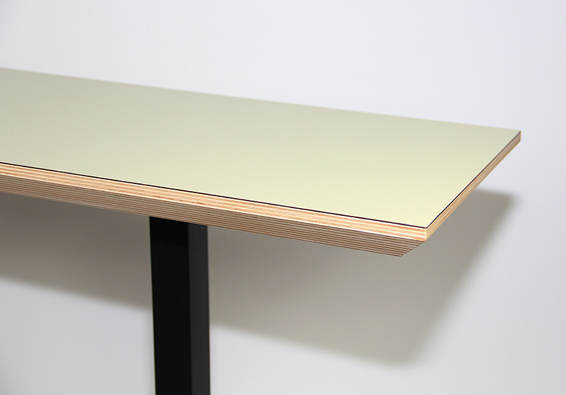 Console Table, Laminated top, solid wood, metal legs