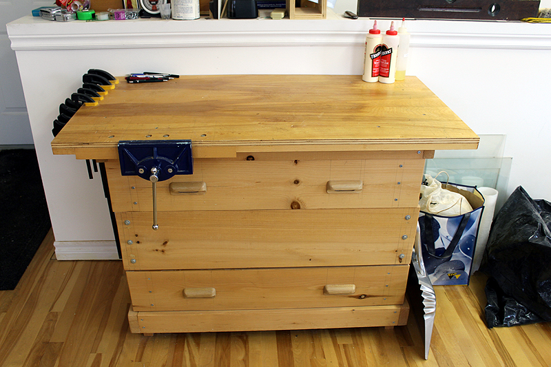 Secondary woodworking workbench area